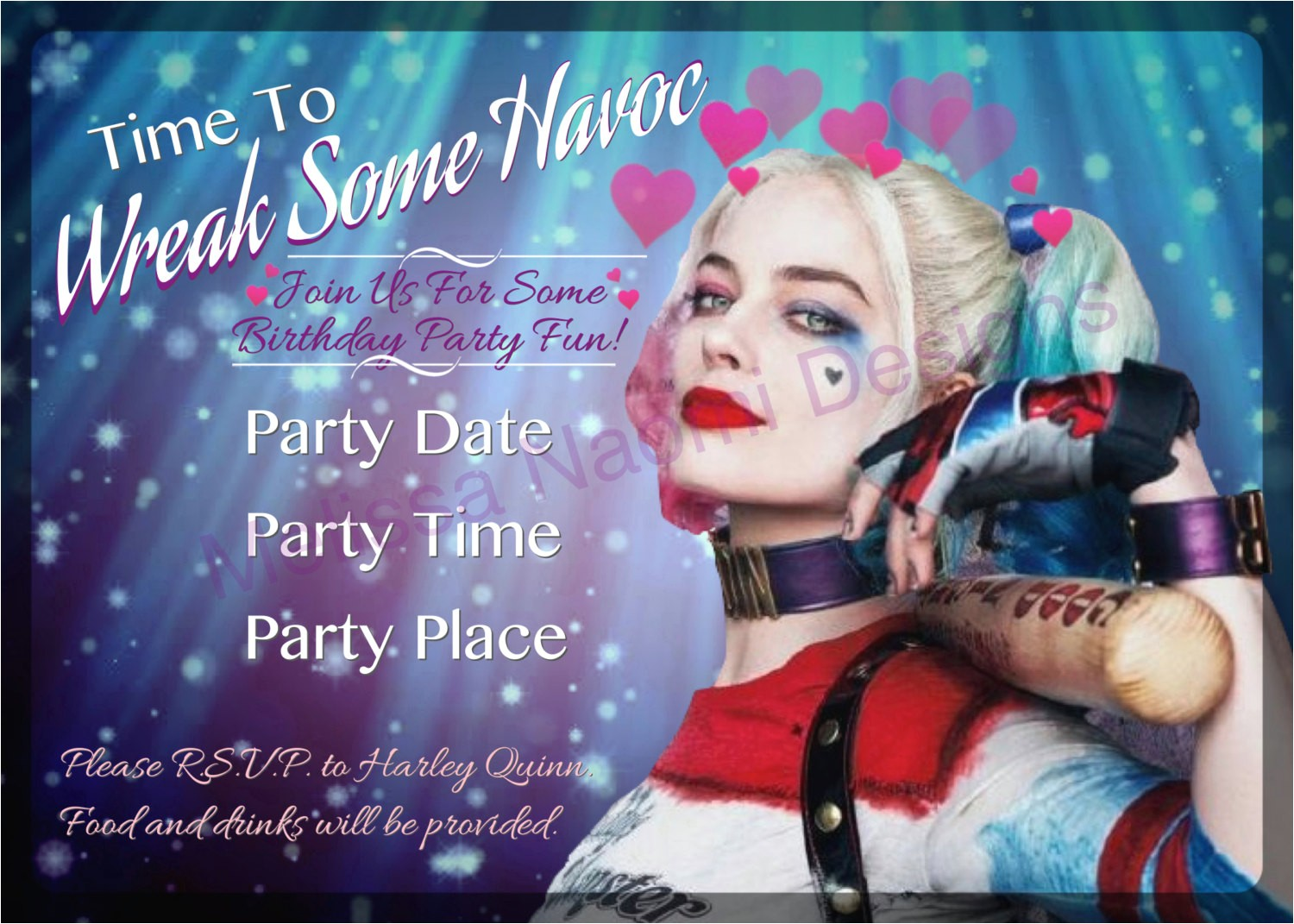 harley quinn party invitation digital