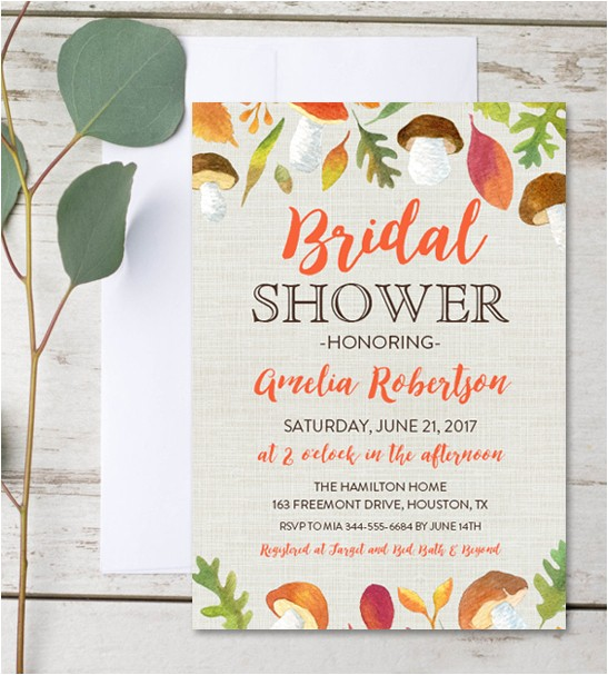 editable bridal shower invitation autumn fall leaves instant download pdf template