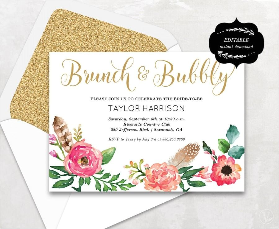 floral bridal shower template printable bridal shower invitation boho bridal shower card instant download editable text 5x7 bs001