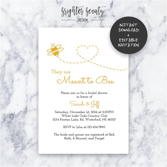 Free Instant Download Bridal Shower Invitations Meant to Bee Bridal Shower Invitation Instant Download