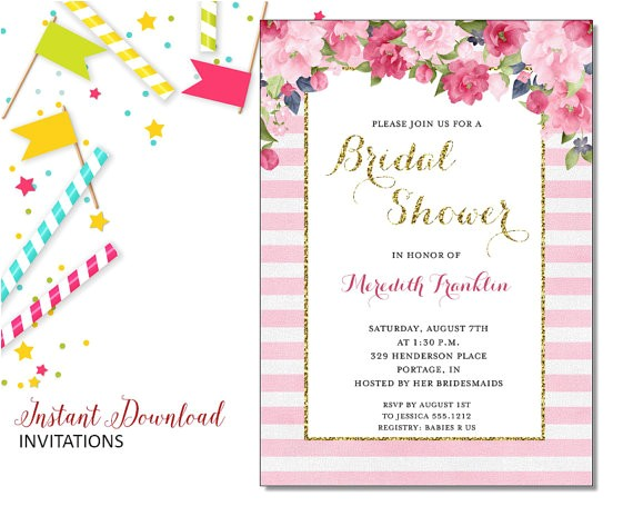 pink floral invitation bridal shower printable