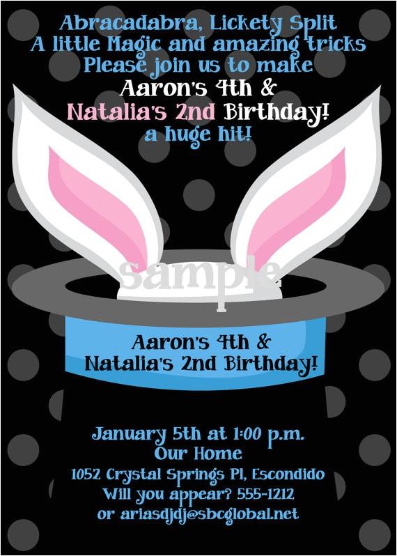 magic birthday party invitations