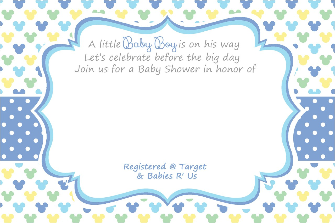 free printable mickey mouse baby shower invitation template for boy