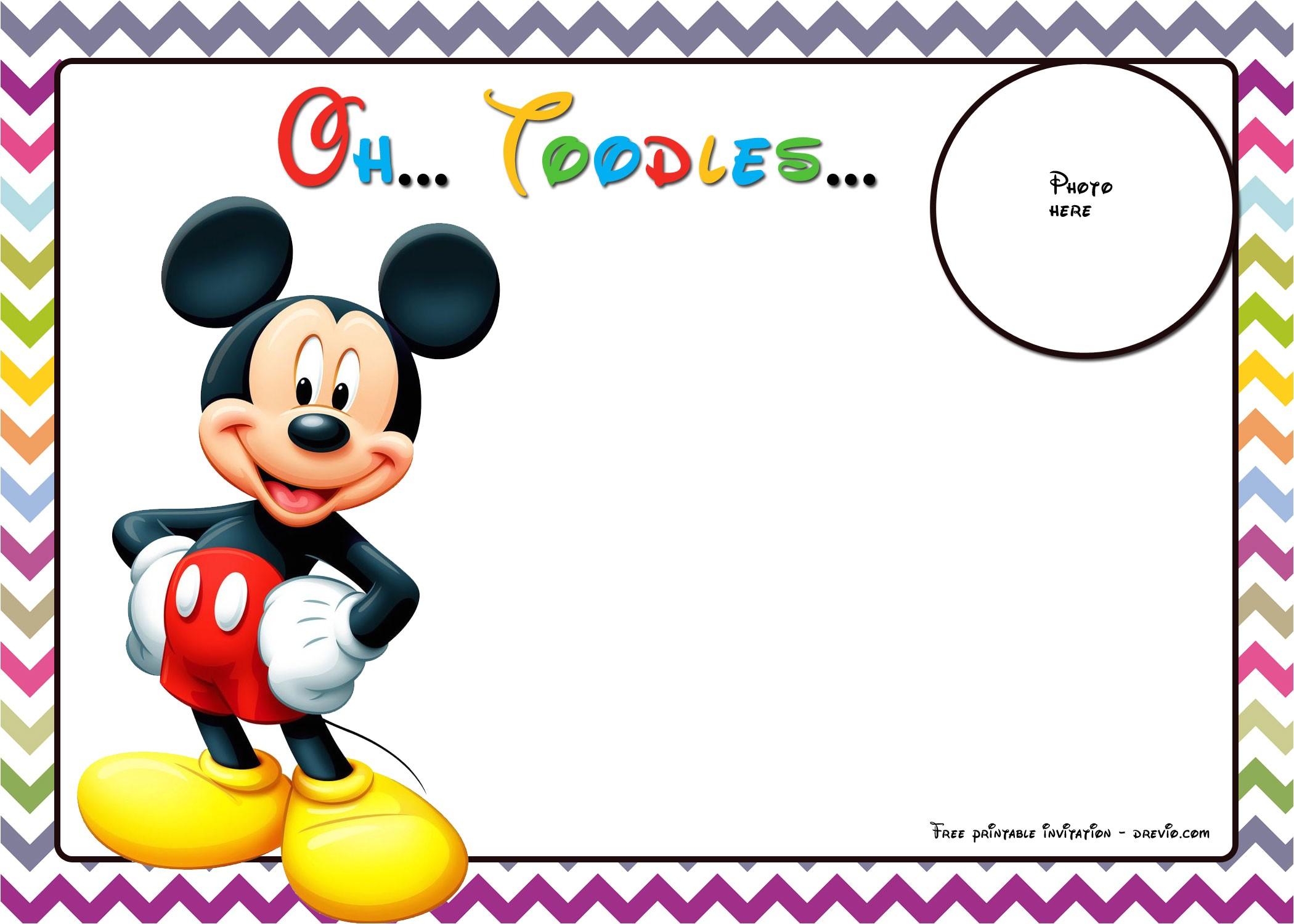 free mickey mouse birthday invitations template chevron edition