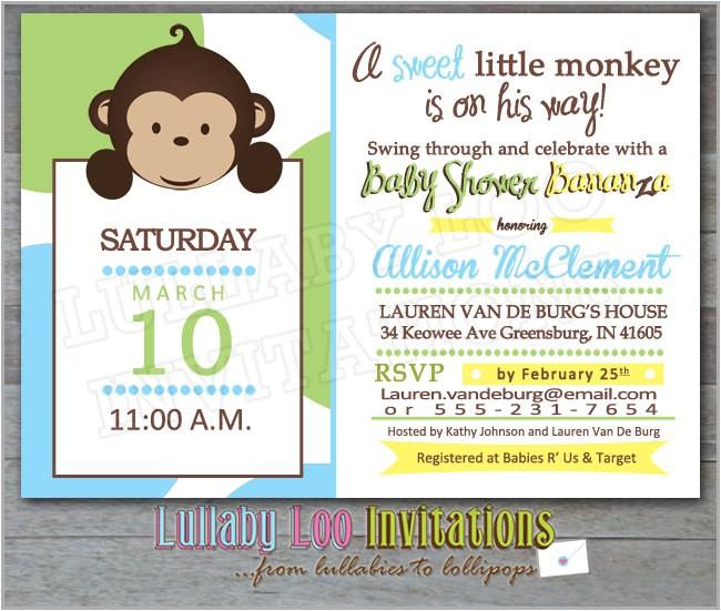best monkey baby shower invitations design