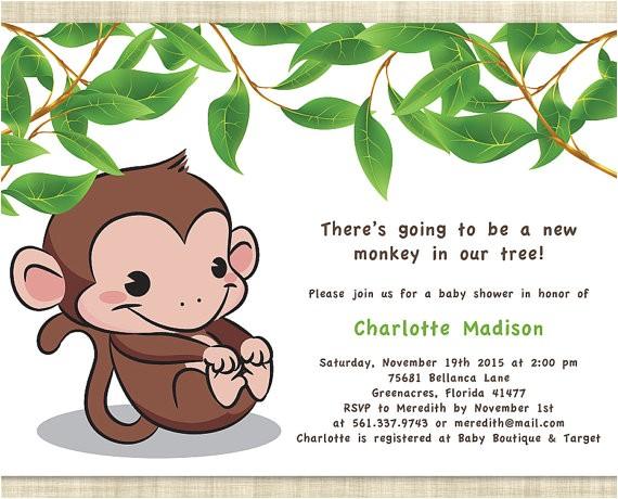 Free Monkey Baby Shower Invitation Templates Monkey Baby Shower Invitations Templates Free