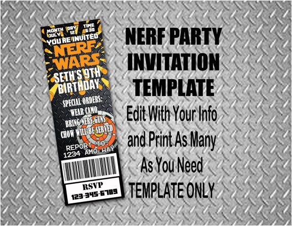 nerf party invitations template 1576