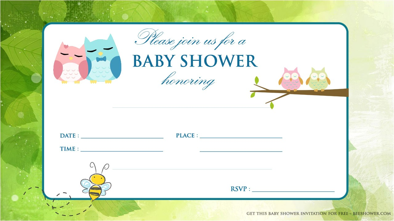 free printable baby owl baby shower invitation