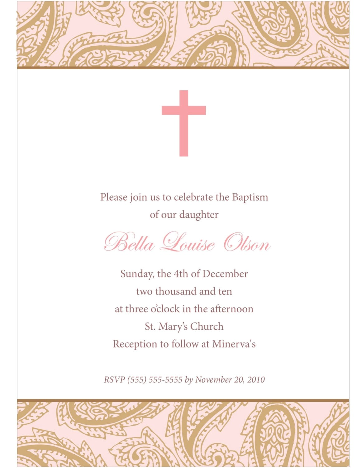 Free Online Baptism Invitations Templates Downloadable Baptismal Invitation