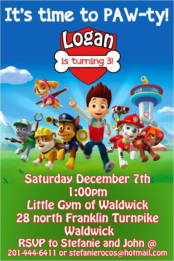 paw patrol birthday invitation printable