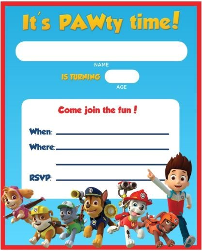 paw patrol birthday invitation ideas