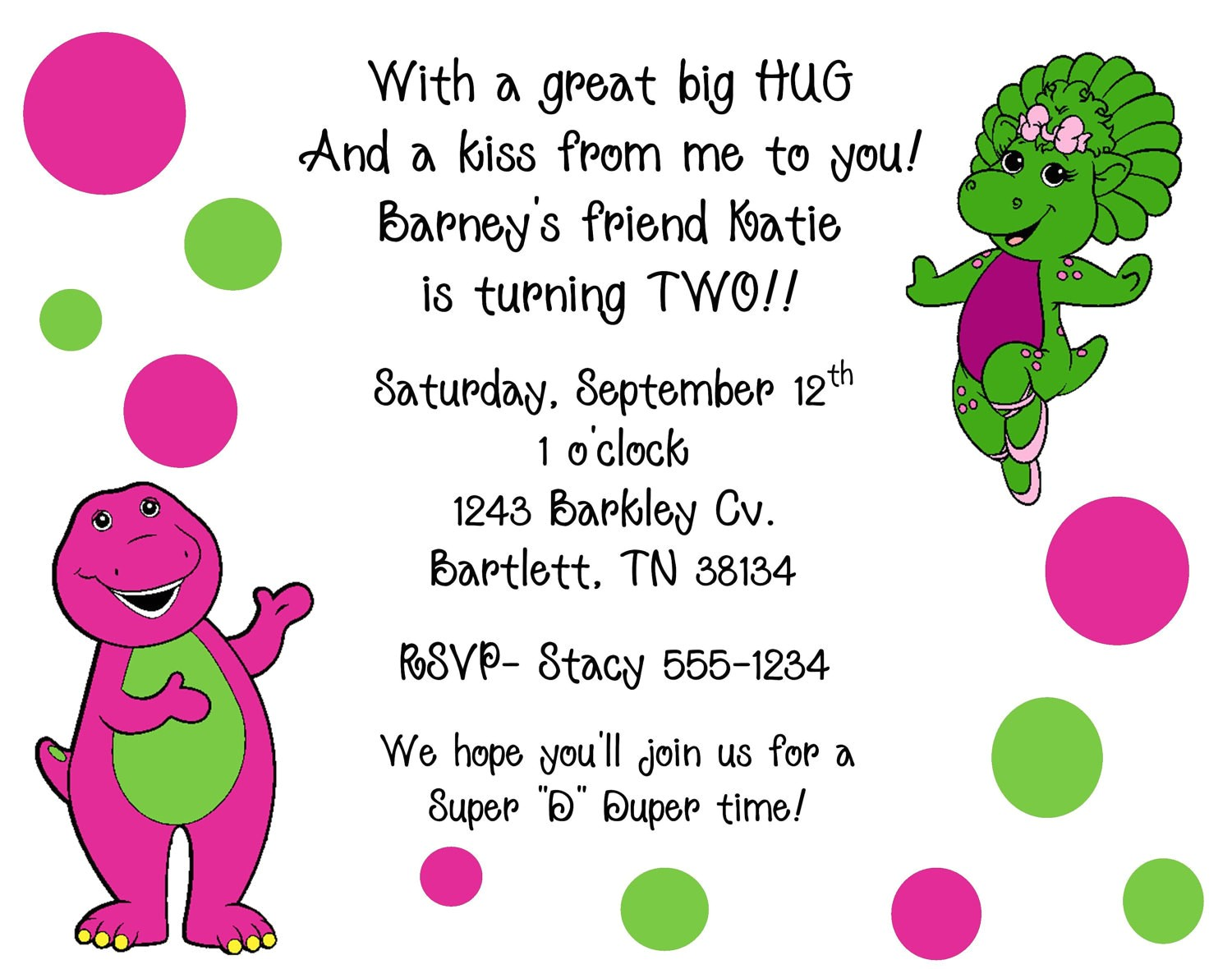 10 barney baby bop invitations with