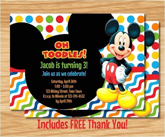 custom mickey mouse birthday invitation
