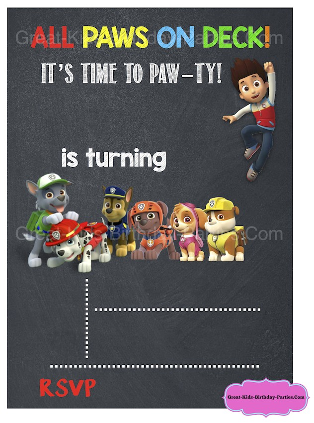 Free Personalized Paw Patrol Birthday Invitations Paw Patrol Birthday