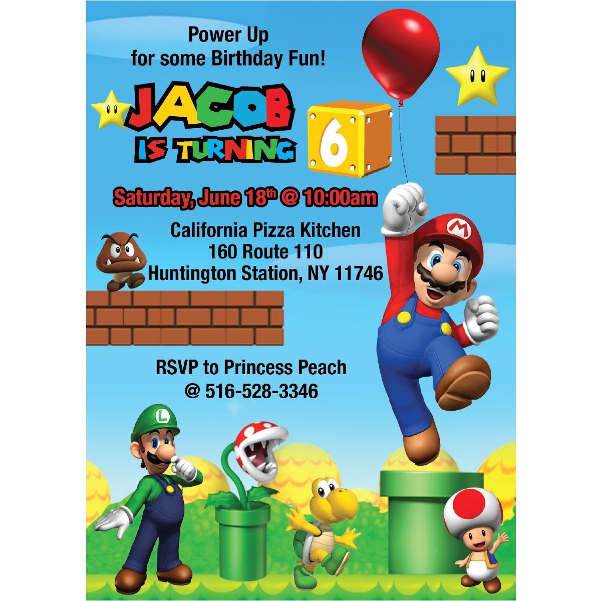 new super mario birthday invitations design