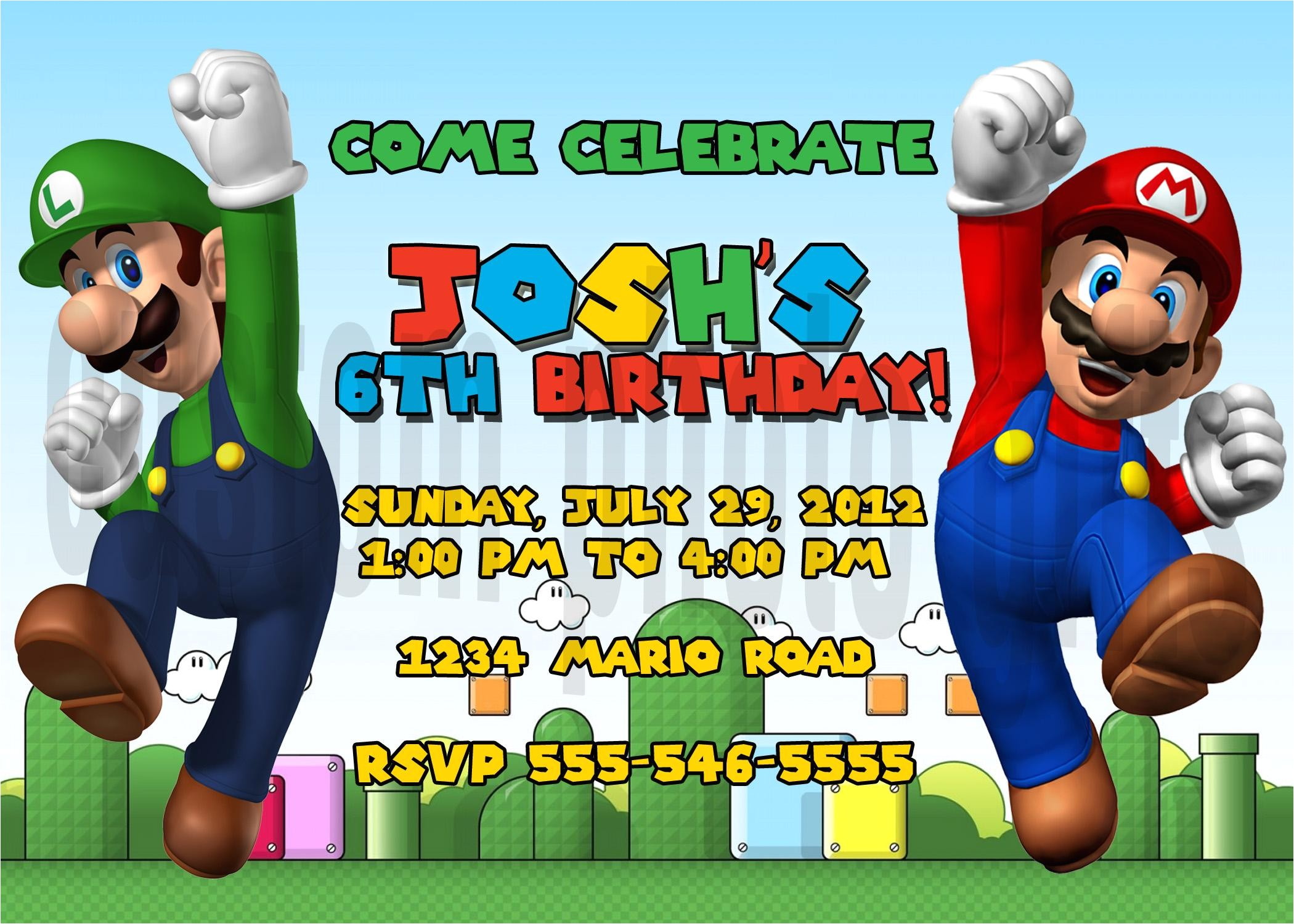Super Mario Brothers Personalized Birthday Invitation