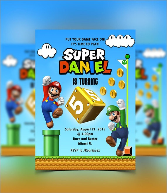 super mario invitation mario luigi mario