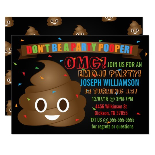 funny poop emoji birthday party invitation