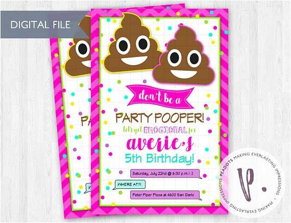 poop emoji invitations rainbow emoticon