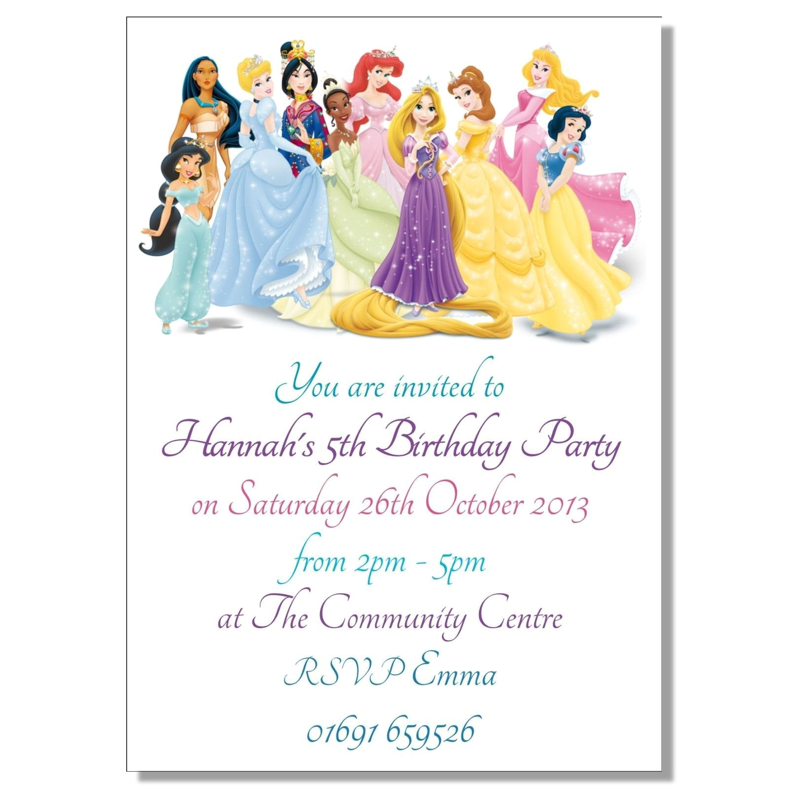 disney princesses birthday invitations