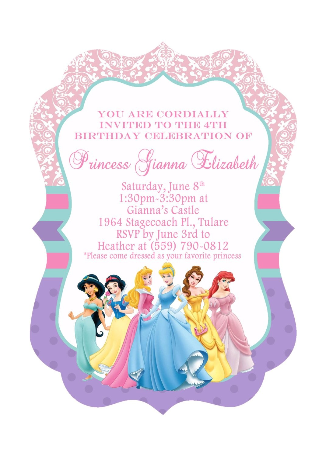 disney princess birthday invitations free templates