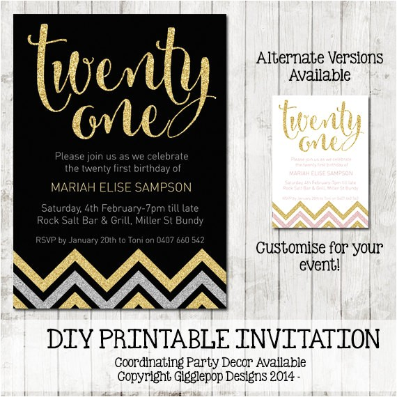 twenty first birthday chevron invitation