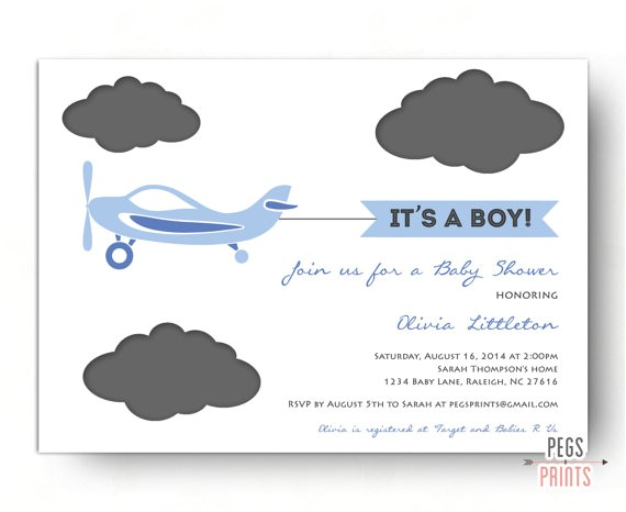 airplane baby shower invitation plane baby