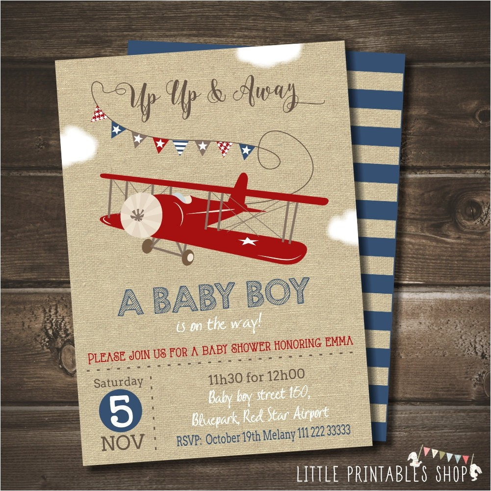 airplane baby shower invitation with