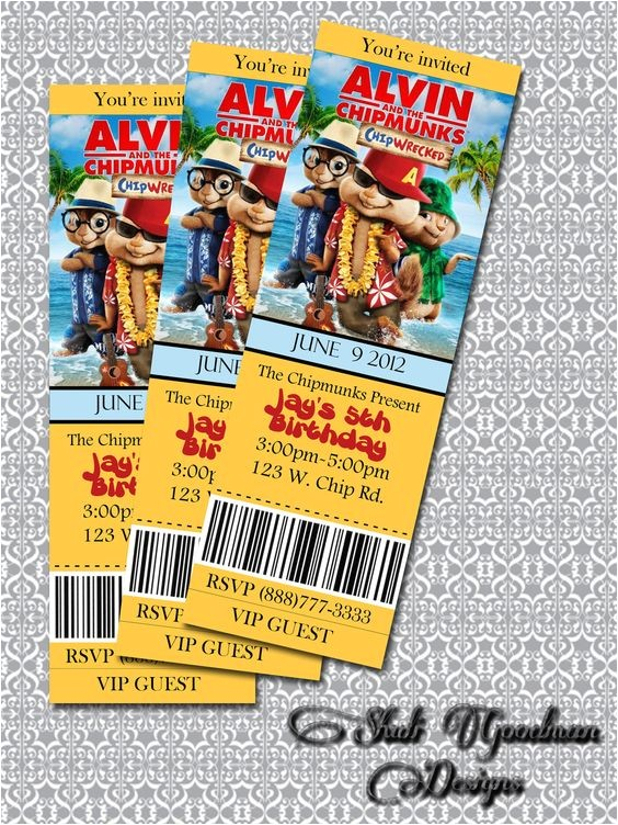 alvin and the chipmunks birthday invitations ideas with charming design of silverlininginvitations