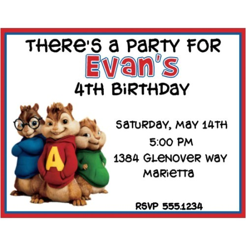 amazing alvin and the chipmunks birthday invitations designs