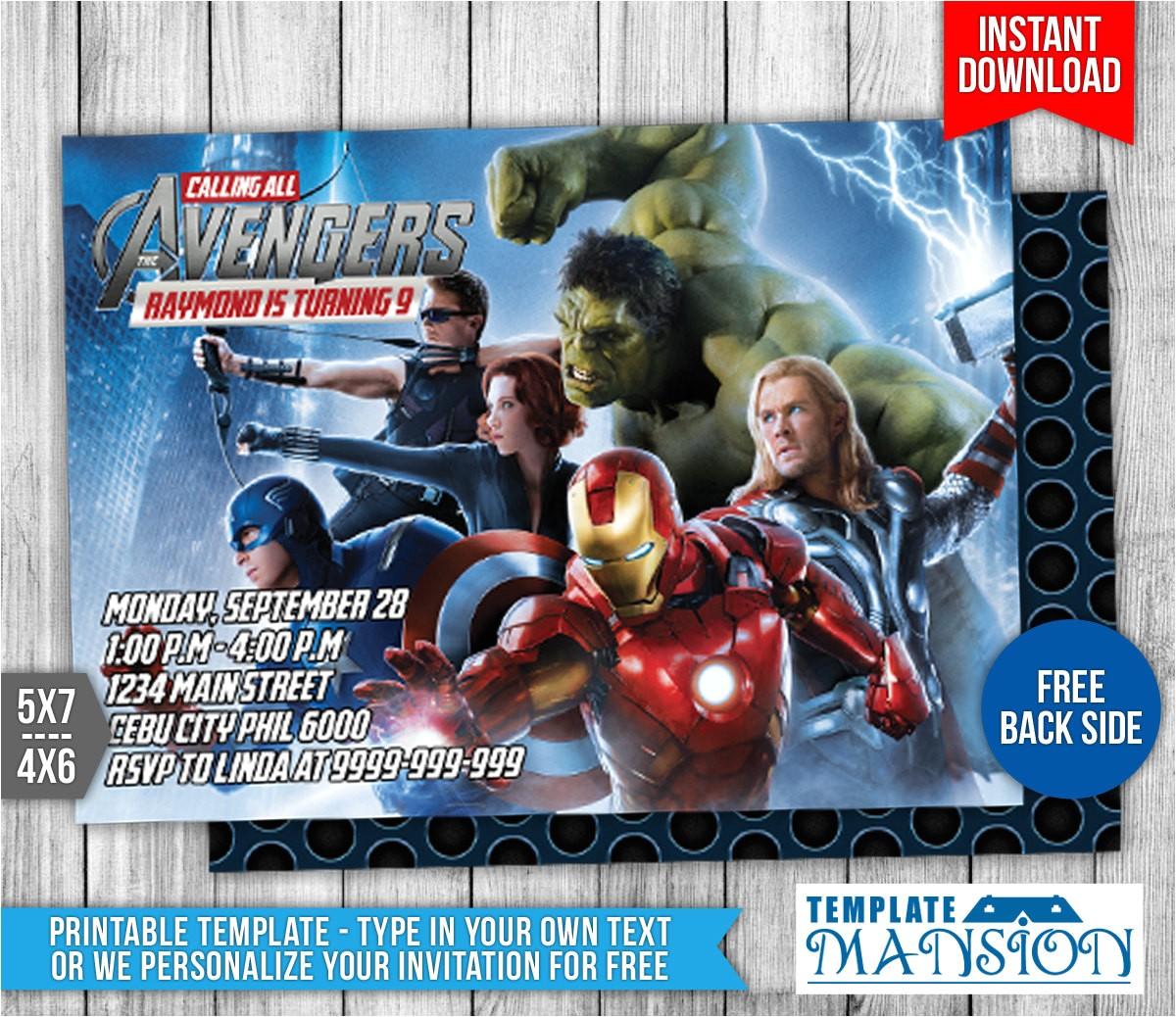 avengers birthday invitation 1 563677598