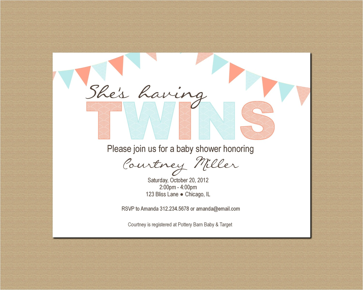 twin baby shower invitation printable