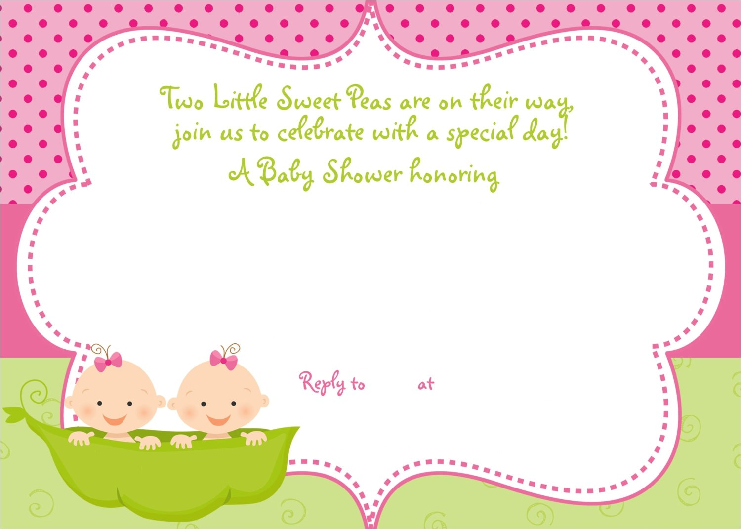 free printable twins baby shower invitation ideas
