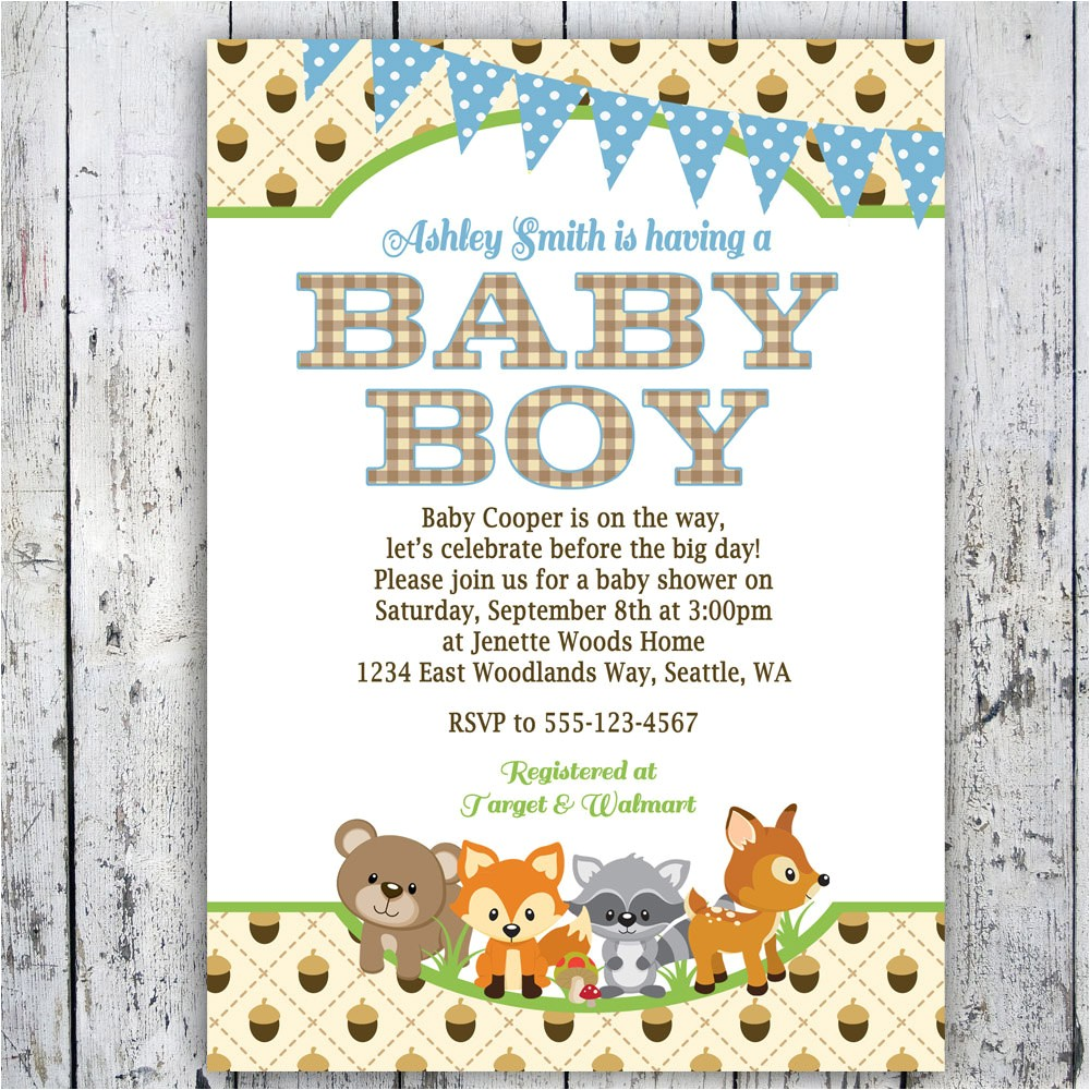 free woodland theme baby shower invitations