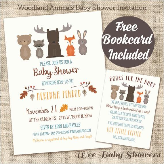 woodland animal baby shower invitation