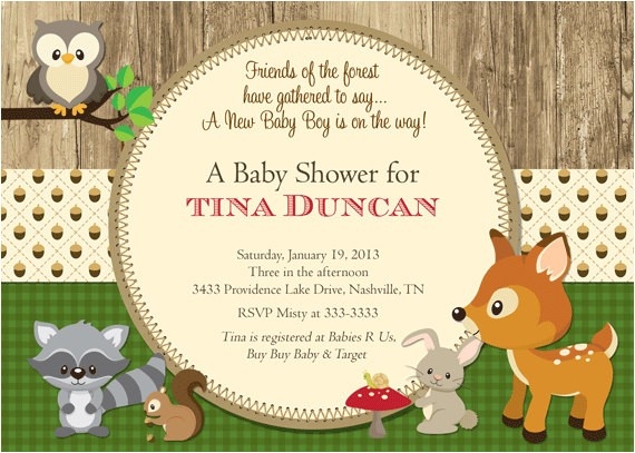 woodland animals baby shower invitation printable 3