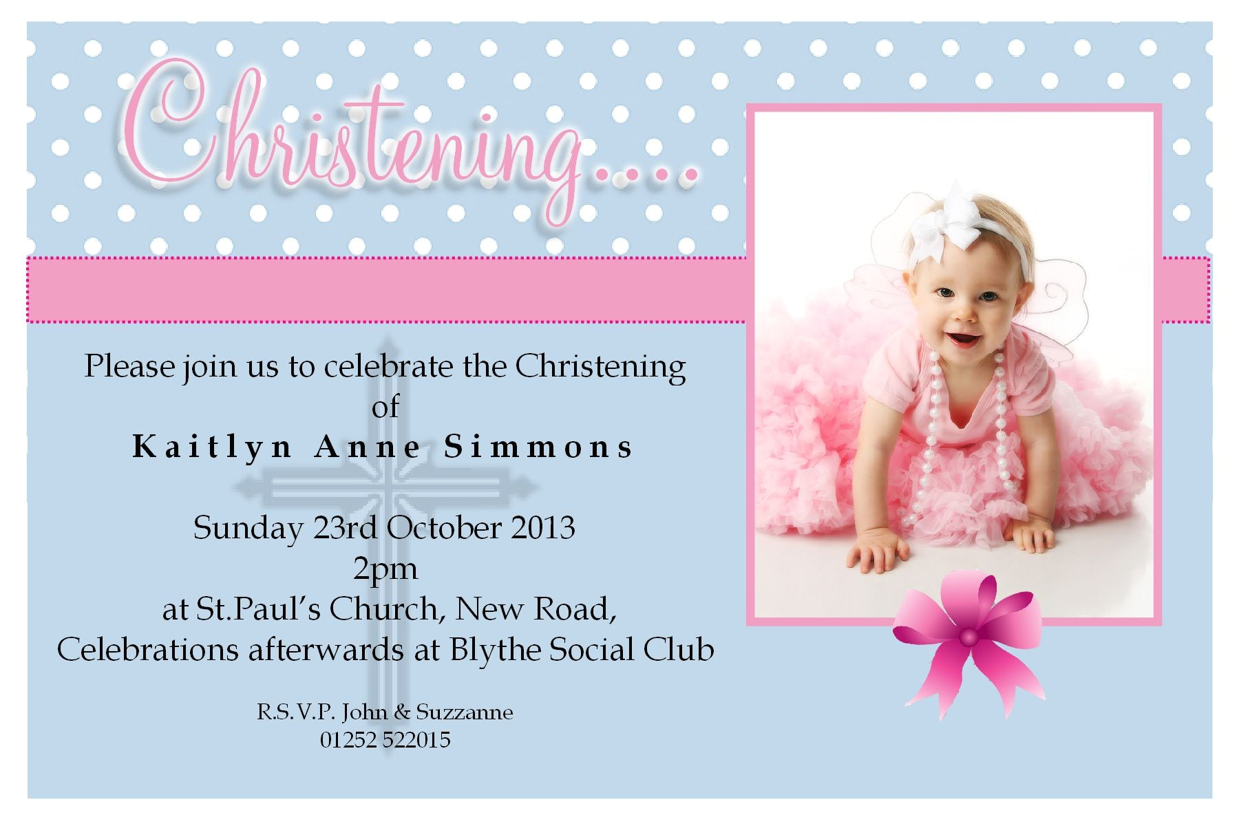 christening invitation cards for baby girl
