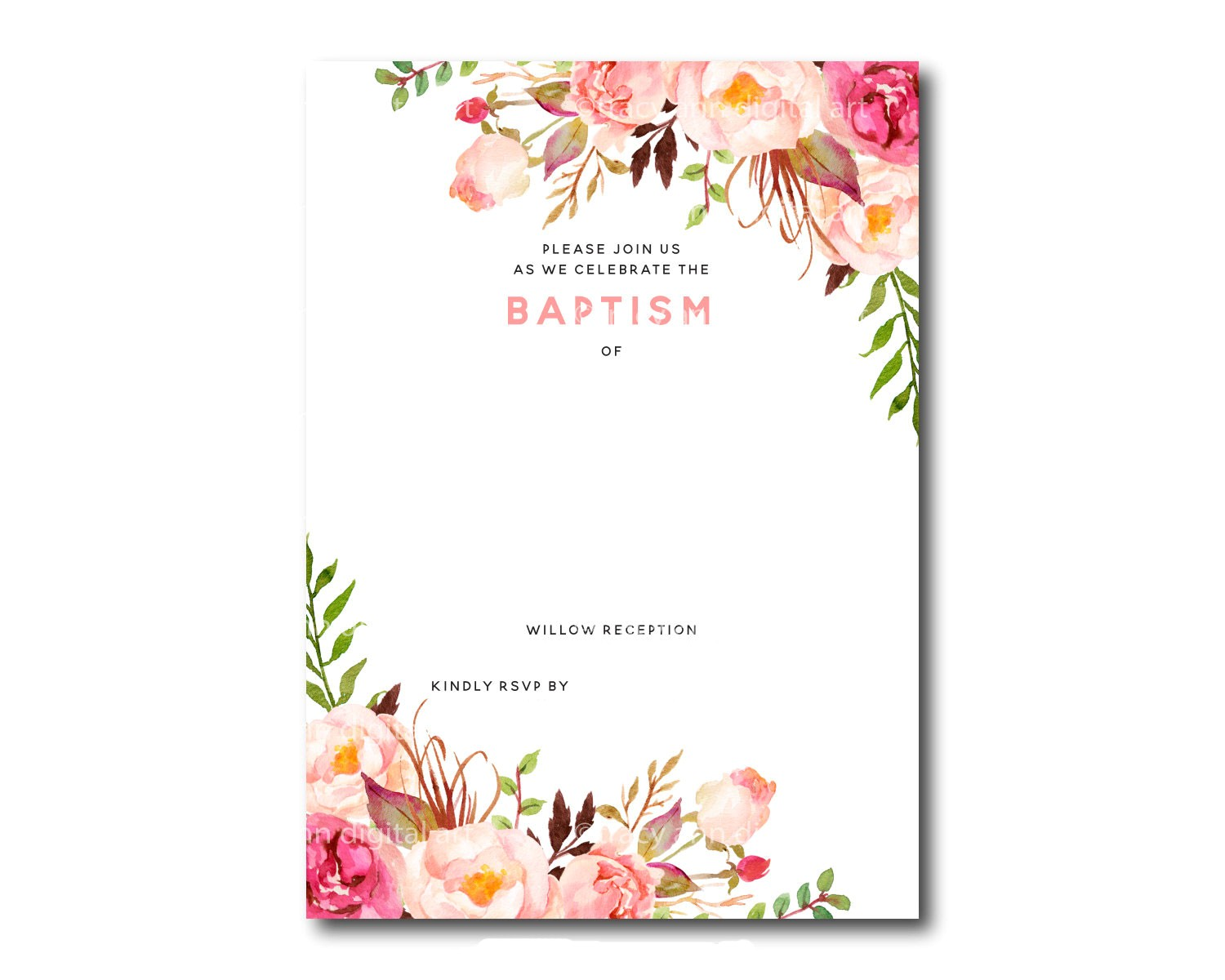 free printable baptism floral invitation template