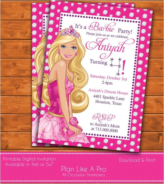 barbie invitations
