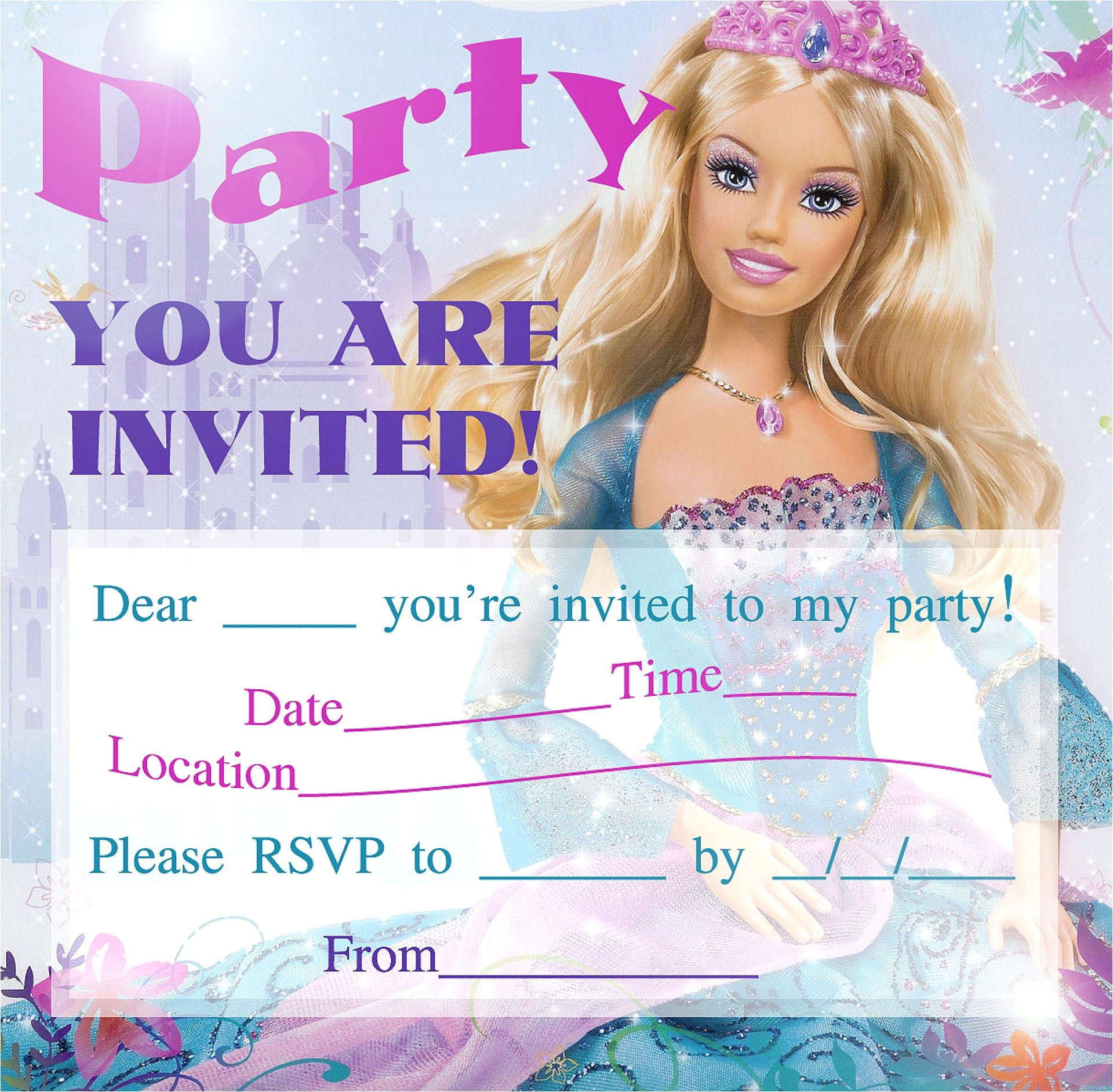 barbie birthday invitations template