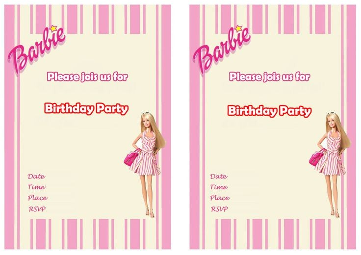 barbie birthday invitations