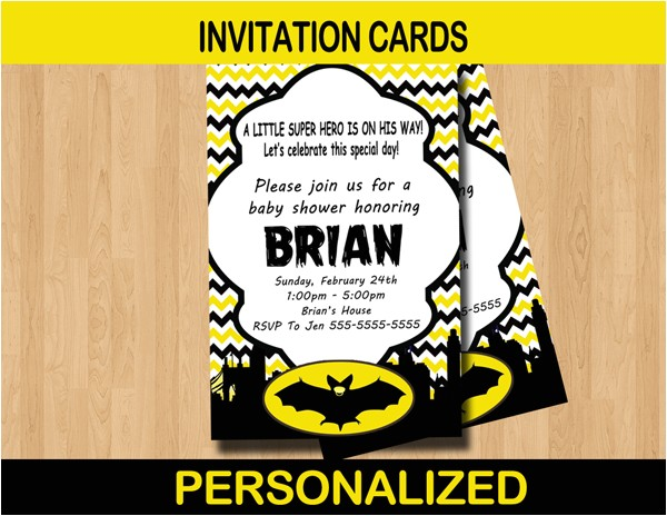 bat baby shower invitation card personalized