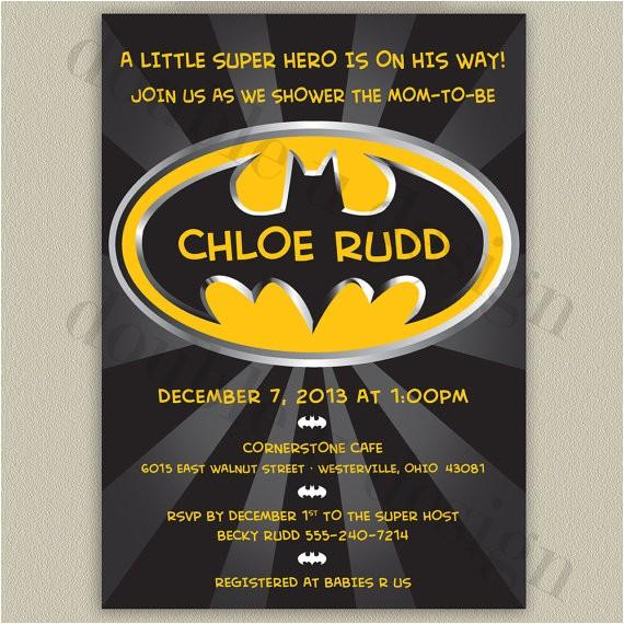 batman printable baby shower invitation