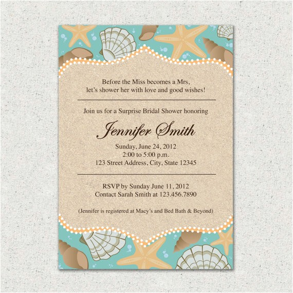 invitation beach themed bridal shower