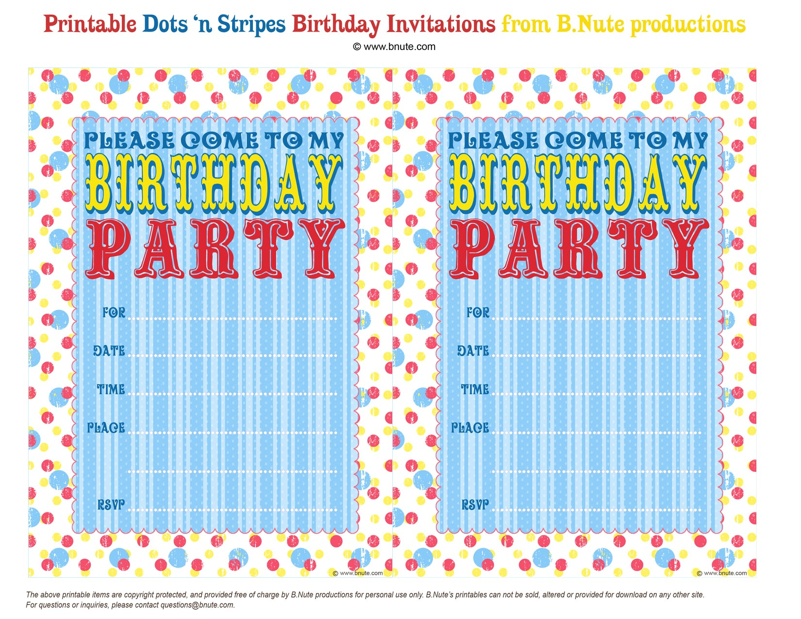 free printable dots n stripes birthday