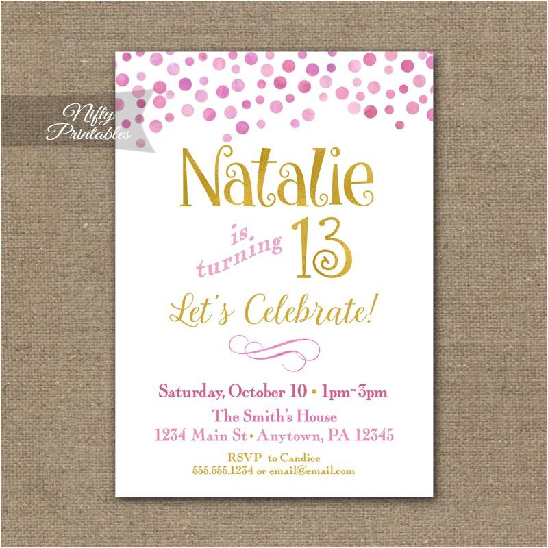 pink gold confetti teen tween invitation