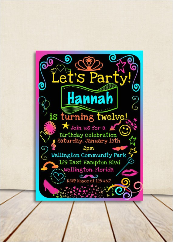 tween neon birthday party invitation teen