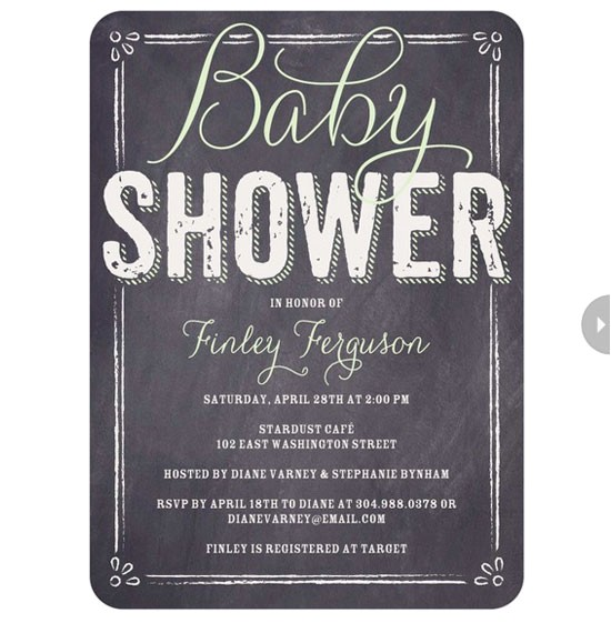 black and white baby shower invitations