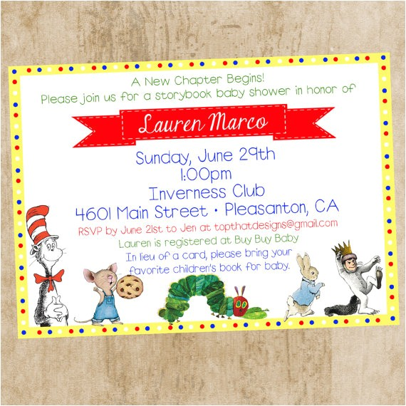 childrens book themed baby shower