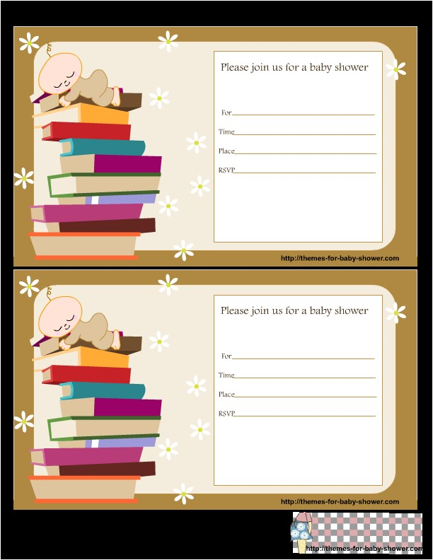 free printable book baby shower invitations